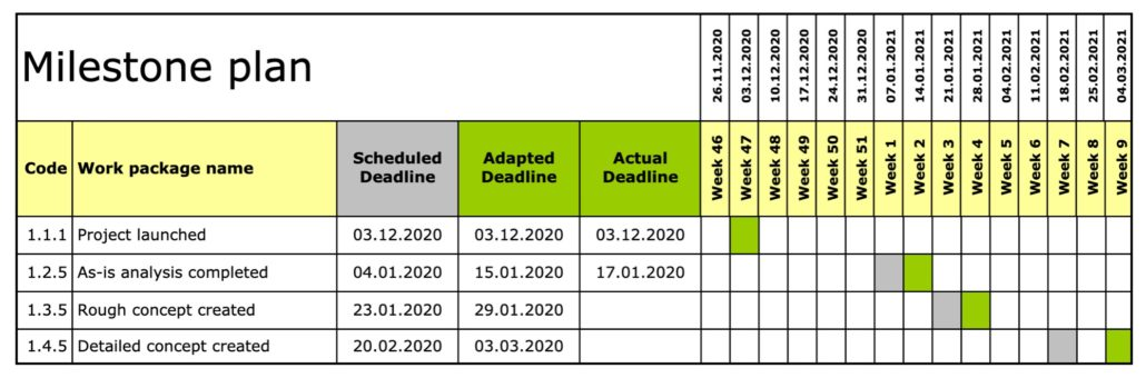 Milestone plan graphical representation MS-Excel
