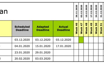 Milestone plan graphical representation MS-Excel
